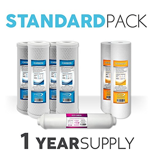 """1-Year Express Water Reverse Osmosis RO Replacement Filter Set 10"""" Coconut Shell Carbon Sediment Inline Quick Connect"""