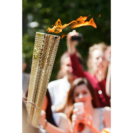Canvas Print Light Gold Relay Flame Carry Fire Olympic Games Stretched Canvas 10 x 14 - Relay Games