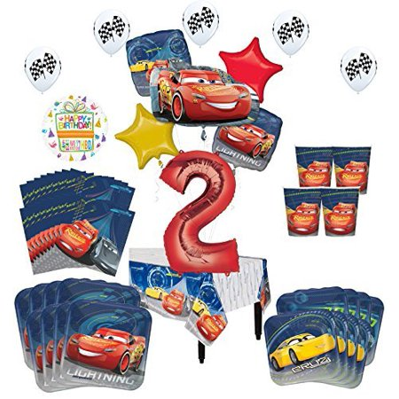 Disney Cars 2nd Birthday Party Supplies 16 Guest Kit and Balloon Bouquet Decorations 94 pc - Cars Birthday Decorations