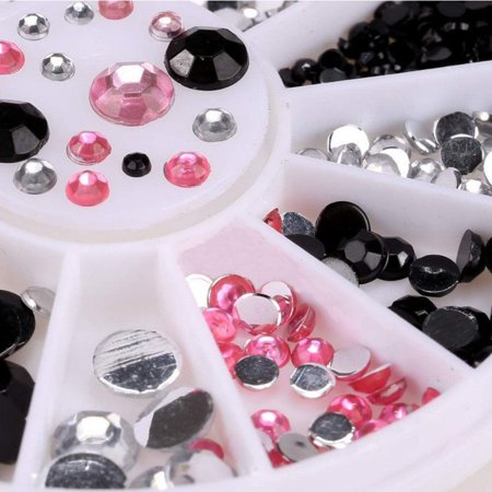 Outtop 3D Acrylic Nail Art Tips Decoration Flat Back Glitter Rhinestones Pearls Beads (Beats Nails)