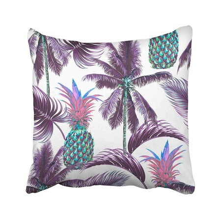 BPBOP Purple Modern Tropical Floral Pattern With Palm Trees Leaves Pineapples Beach Exotic Pillowcase Pillow Cushion Cover 16x16 (Tropical Tree With Fernlike Leaves And Purple Flowers)