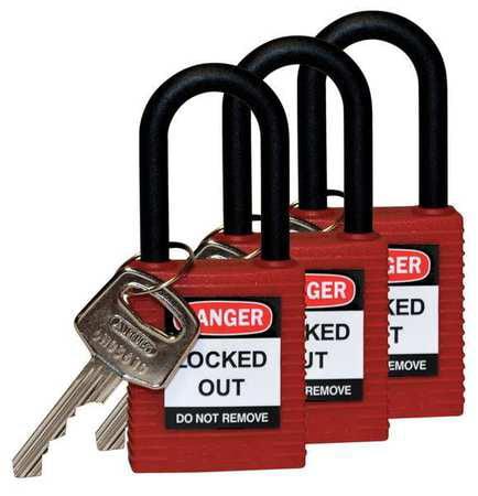 "Lockout Padlock,KA,Red,1-3/4""H,PK3 BRADY 123333"
