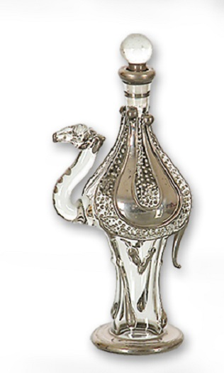 Clear and Gold Small Camel Egyptian Blown Glass Perfume Bottle Made in Egypt New by Egyptian Museum