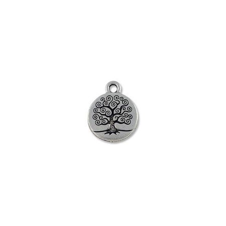 Charm for Jewelry Making - Tree of Life 16mm Pewter Antique Silver Plated - Jewelry Making Charms