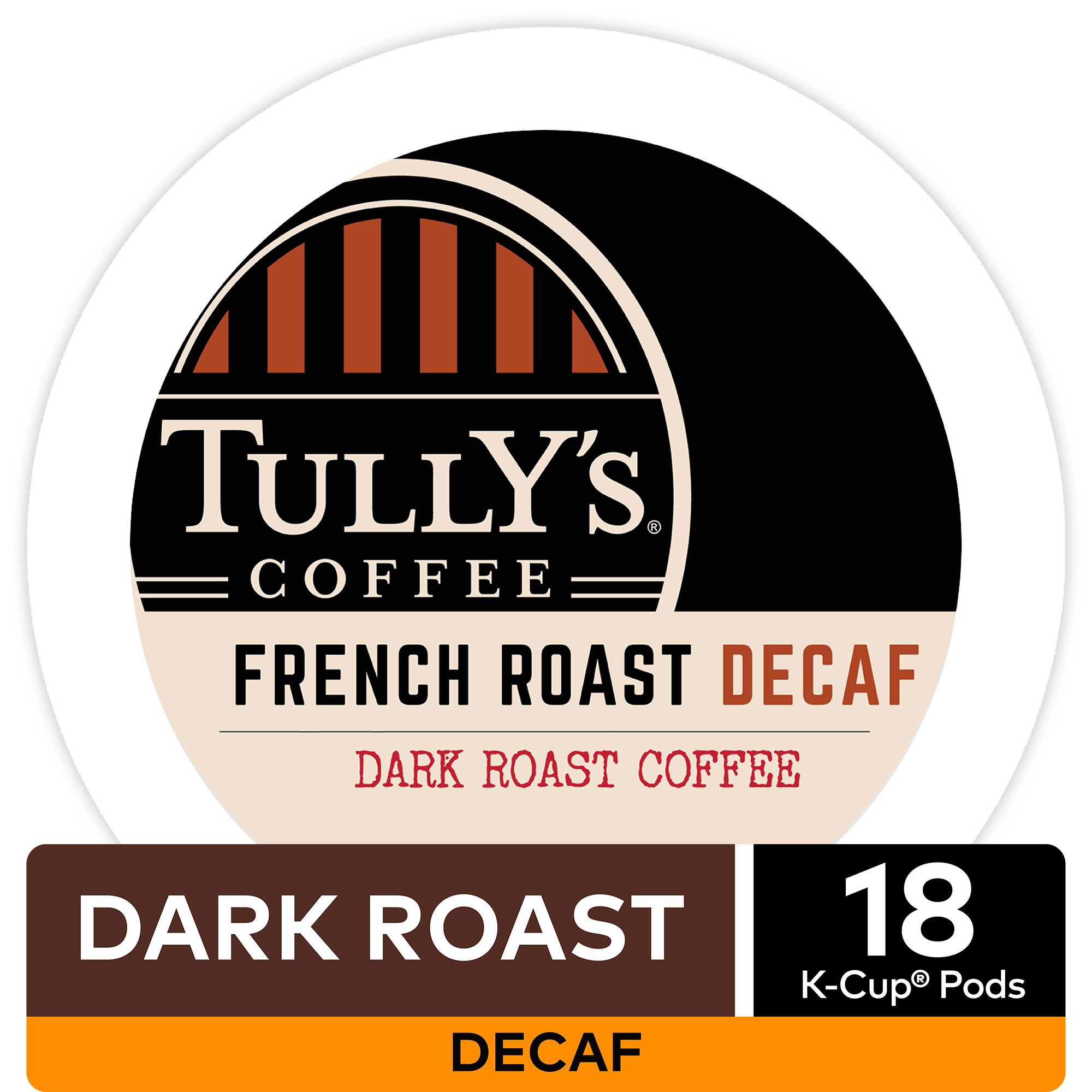 Tully's Coffee French Roast Decaf Coffee, Keurig K-Cup Pods, Dark Roast, 18 Count