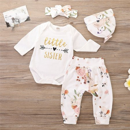Cute Newborn Baby Girls Little Sister Letter Print Bodysuit Romper + Floral Long Pants Set  Autumn Clothes Outfits 0-24M - Cute Girl St Patricks Day Outfits