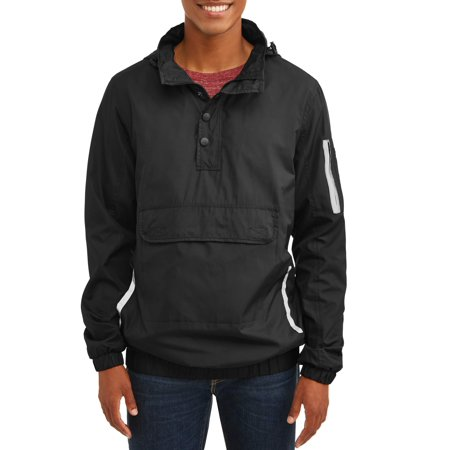 Men's 1/4 Zip Lightweight Front Pouch Jacket With Reflective Trim, Up To Size 2Xl