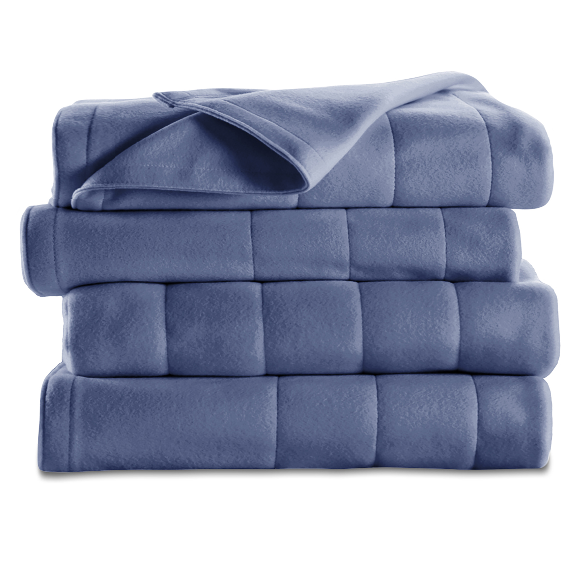 Sunbeam Electric Heated Fleece Channeled Blanket, Full Blue