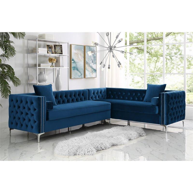 Levi Blue Velvet Corner Sectional Sofa - 120 Inches Right Facing