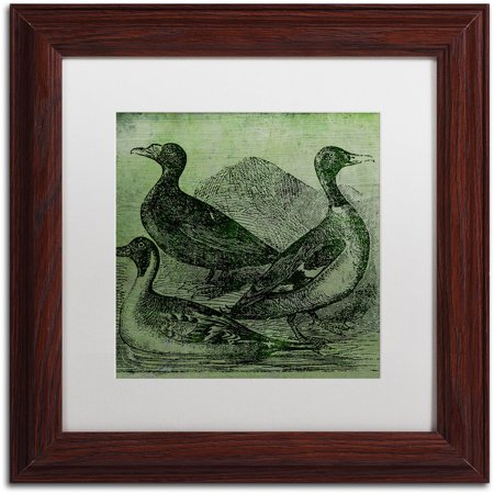 "Trademark Fine Art ""Mallards"" Canvas Art by Color Bakery White Matte, Wood Frame"