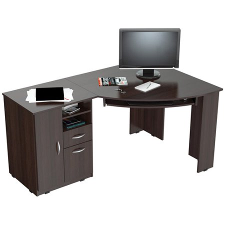 inval corner computer desk espresso wengue finish
