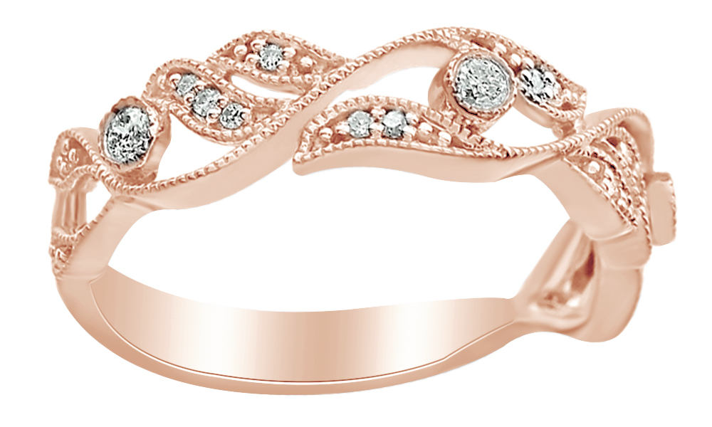 Jewel Zone Us Vintage Style White Diamond Anniversary Band Ring