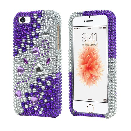(Purple/ Silver Rhinestones Bling Apple iPhone 5 / 5S Hard Case Cover; Fashion Jeweled Snap-On Plastic Case)