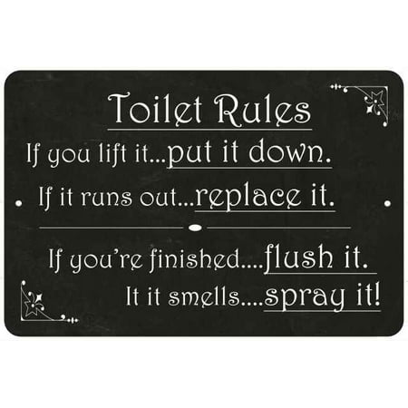 Toilet Rules, if you lift it… Funny Bathroom 8x12 Metal Sign 208120061031 - Funny Rules For Halloween