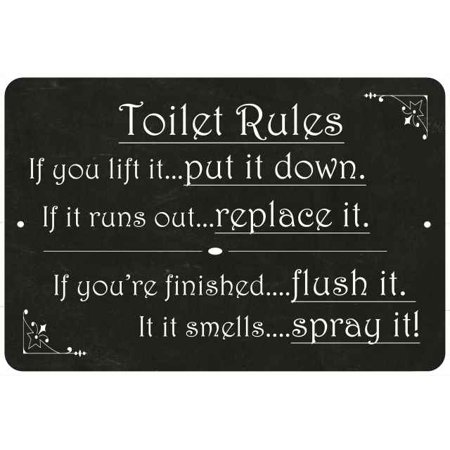 Toilet Rules, if you lift it… Funny Bathroom 8x12 Metal Sign 208120061031