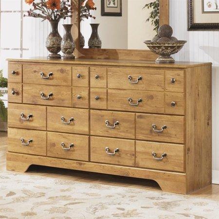 Ashley Bittersweet 6 Drawer Wood Double Dresser in Light Brown ...