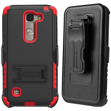 Att Logo (NEW BEYOND CELL BLACK/RED TRI-SHIELD RUGGED CASE COVER WITH STAND + BELT CLIP HOLSTER + SCREEN PROTECTOR FOR LG ESCAPE-2, LG SPIRIT, LG LOGOS (H440 H422 H443 H445 US550 C70) (AT&T, CRICKET))