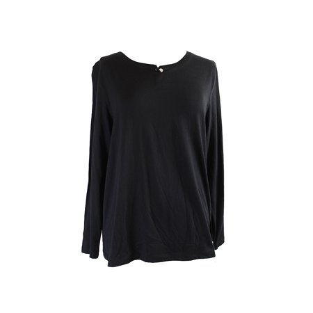 Hue  Black Long-Sleeve 1 Button Henley Pajama Top  S