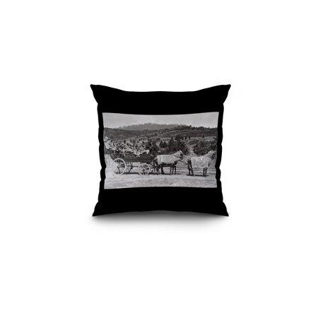 Halloween Jacksonville Oregon (Jacksonville, Oregon - A Bandwagon View (16x16 Spun Polyester Pillow, Black)