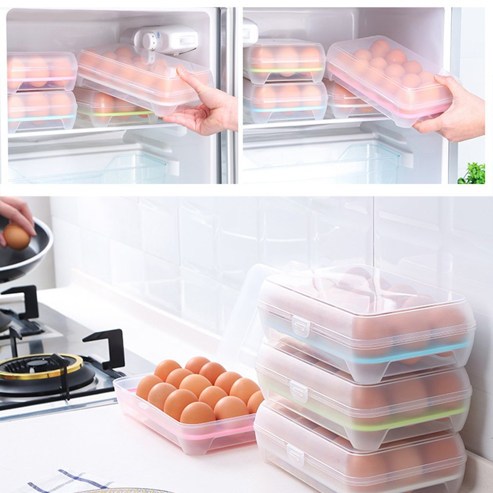 15 Grid Cells Eggs Container Storage Kitchen Refrigerator Fresh Box Storage Case Multifunctional Crisper Food... by