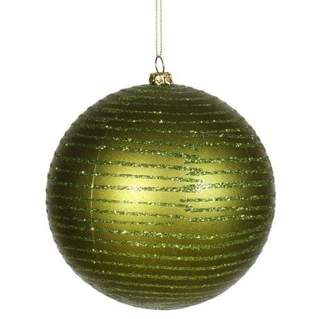 boule de no l vert olive glitter striped incassable. Black Bedroom Furniture Sets. Home Design Ideas