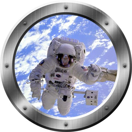 VWAQ Astronaut Wall Decals For Kids - 3D Outer Space Porthole Stickers For Wall, Spaceman Decal -PS15 (20