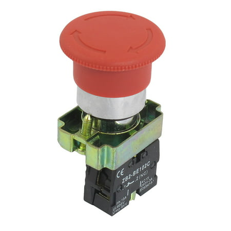 Unique Bargains ZB2-BS542 NC Normally Closed Red Sign Mushroom Emergency Stop Push Button Switch