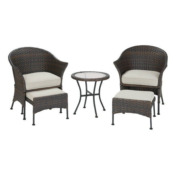 Mainstays Arlington Glen 5 Piece Outdoor Furniture Patio Leisure Set, Beige