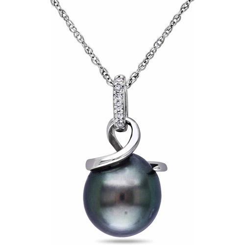 8-8.5mm Black Drop Tahitian Pearl and Diamond Accent 10kt White Gold Swirl Pendant, 17