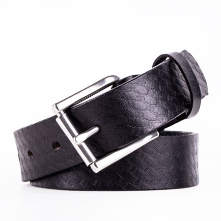 Heavy Duty Embossed Leather (JML Heavy Duty Mens Genuine Leather Belt 11/8 Inches Wide Embossed CCW Black Size 38