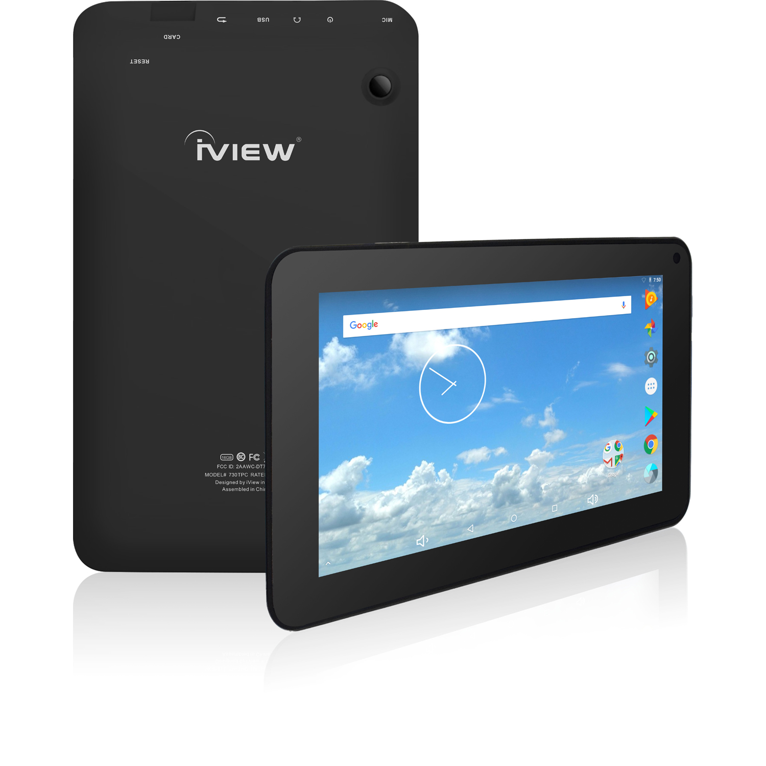 """iView 7"""" Tablet PC, Android 7.1, Quad Core Processor, 1GB Memory, 16GB Storage, Front Facing and Rear Camera, Black"""