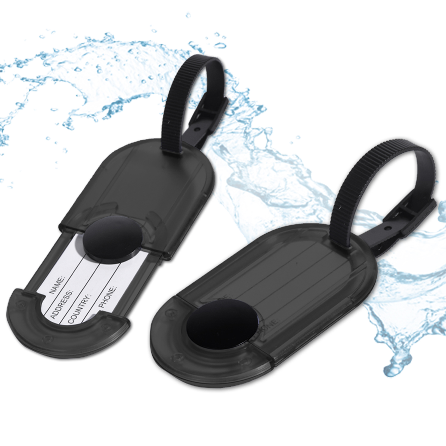 Miami CarryOn - Luggage Tags Holder - Travel ID Bag Water Resistant Tags - Set of 2 (Black)