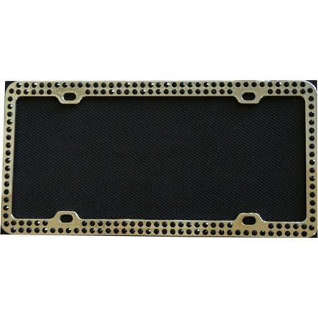 Diamond Bling Black 2 Row Chrome License Plate Frame - image 1 of 1