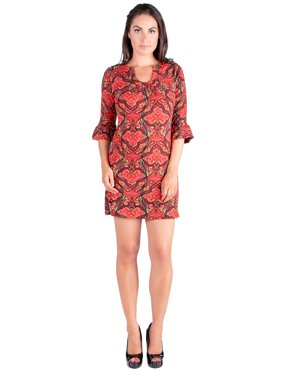fc9857e91cac41 Product Image 24seven Comfort Apparel Shades of Orange Print 3 4 Length Sleeve  Tunic Dress. 24 7 Comfort Apparel