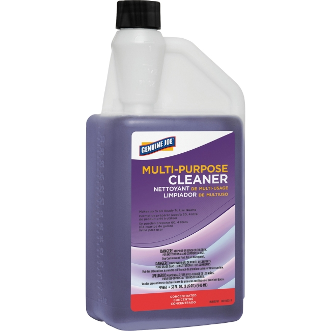 Genuine Joe Lavender Scented All-Purpose Cleaner - Concentrate Liquid - 0.25 gal (32 fl oz) - Lavender ScentBottle - 1 Each - Purple