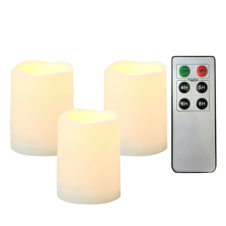 "Candle Choice 3 Piece Outdoor Indoor Flameless LED Battery Operated Candles with Remote and Timer Long Lasting Waterproof Realistic Flickering Electric Pillar Candles 3-Pack Size-3""(D)x4""(H) (Flameless Colored Candles)"