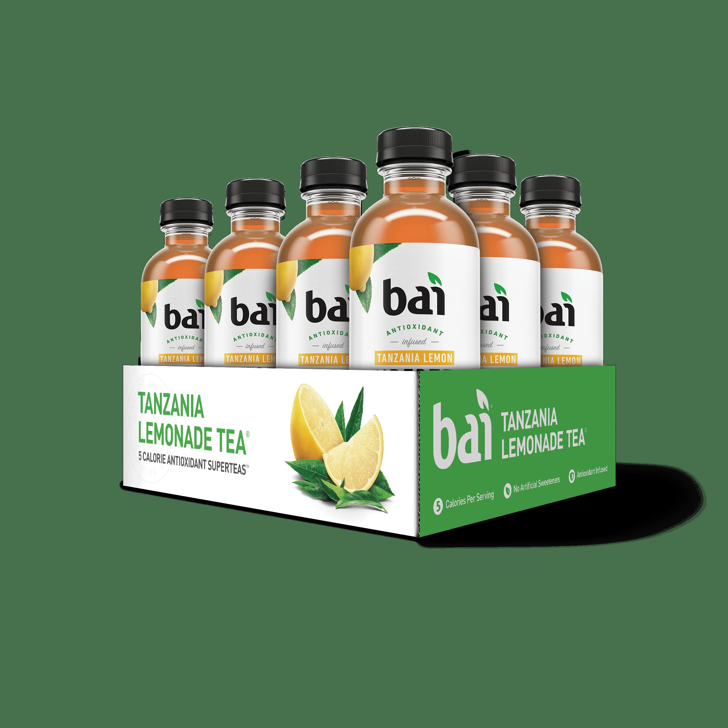 Bai Supertea Antioxidant Infused Beverage, Tanzania Lemonade, 18 Fl Oz, 12 Count