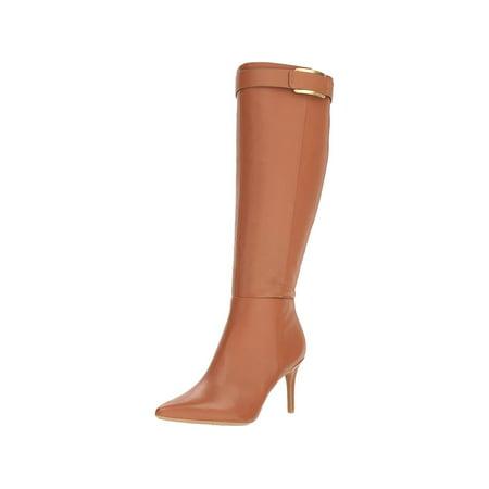 Calvin Klein Womens glydia Fabric Almond Toe Knee High Fashion Boots Chocolate Lizard Boots