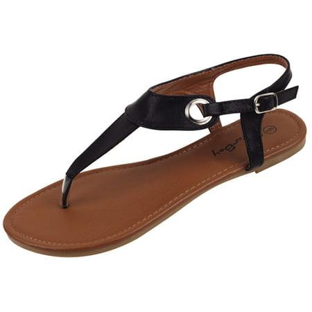 New Womens Sandals Roman Gladiator Flats T Straps Thongs Ladies Shoes Medusa & Eva (2207-Black, 10) for $<!---->