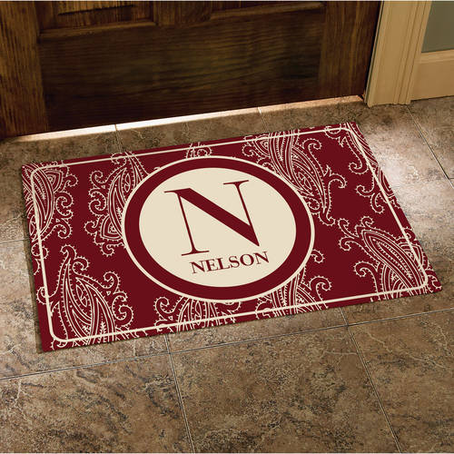 "Personalized Paisley Initial and Name Doormat, 24"" x 36"", Available in Multiple Colors"