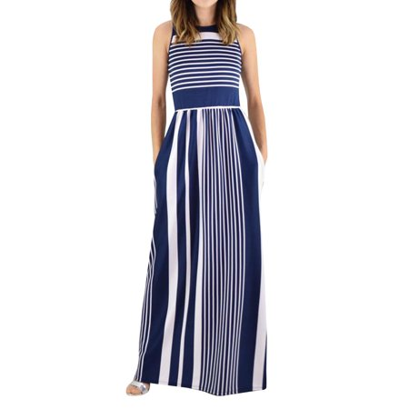 Stripe Print Women Sleeveless Long Party Maxi Dress - Belle Dress For Women