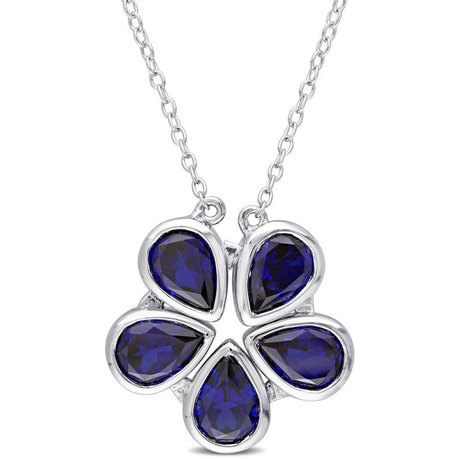 "Tangelo 5-3 4 Carat T.G.W. Created Blue Sapphire Sterling Silver Two-in-One Teardrop Flower Necklace, 17"" by Tangelo"