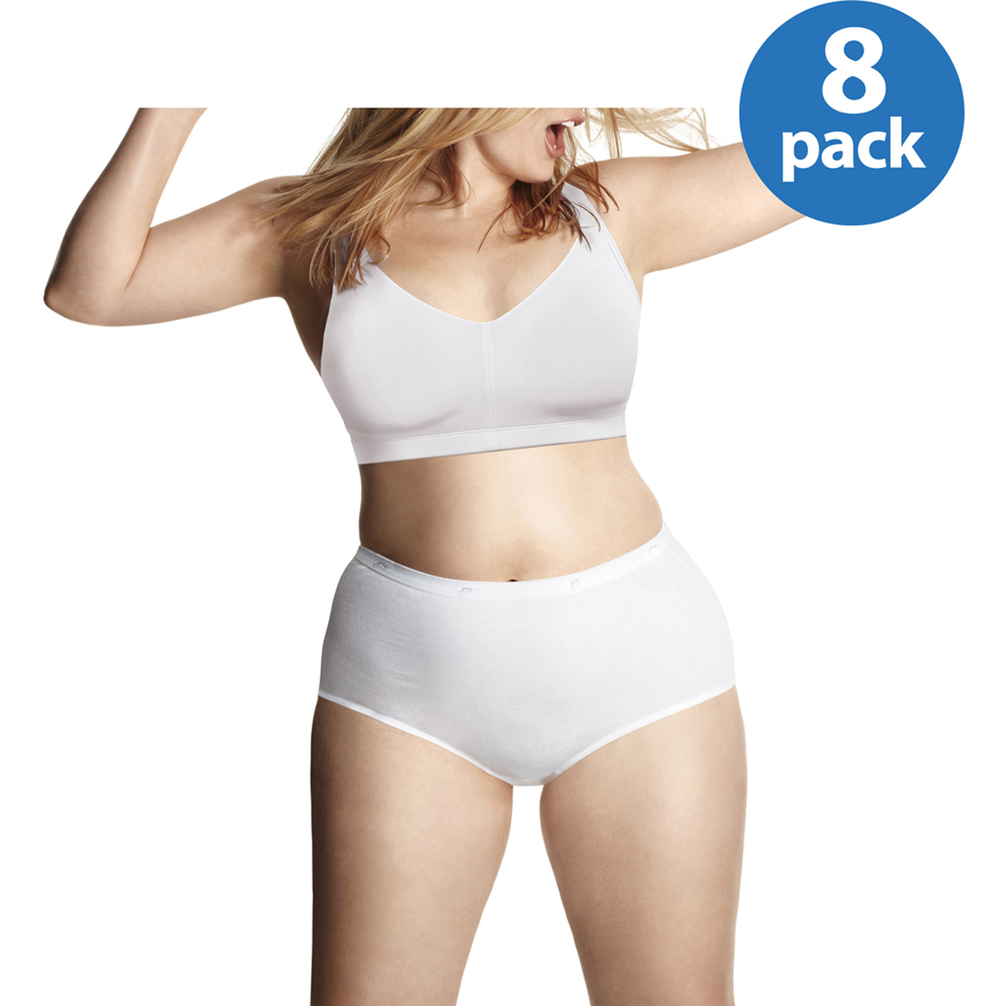 Just My Size Women's Cotton Brief 8 Pack