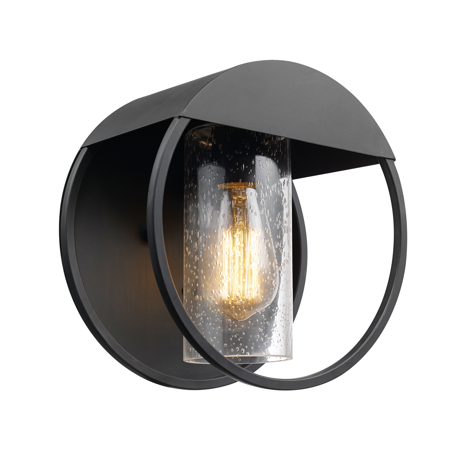 Globe Electric Neruda Matte Black Outdoor Indoor Wall Sconce with Seeded Glass Shade, 44335