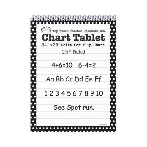 Shoplet Best POLKA DOT CHART TABLET BLACK 1.5 SCBTOP3849-6 (Pack of 6)
