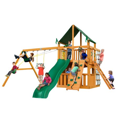 Gorilla Playsets Chateau Clubhouse Wooden Swing Set with Sunbrella® Canvas Canopy, Rock Climbing Wall, and Accessories