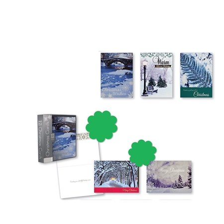Christmas Holiday Boxed Cards Potographic Landscapes Xmas Box Set Assorted with 5 Different Beautiful Snowy Landscapes Cards with Sentiment Inside 12 Count ()