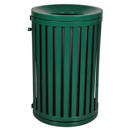 Outdoor Trash Receptacle - Ex-Cell Kaiser SCTP-40 HGR 45 Gallon Streetscape Classic Outdoor Trash Receptacle with Swing Door, Hunter Green