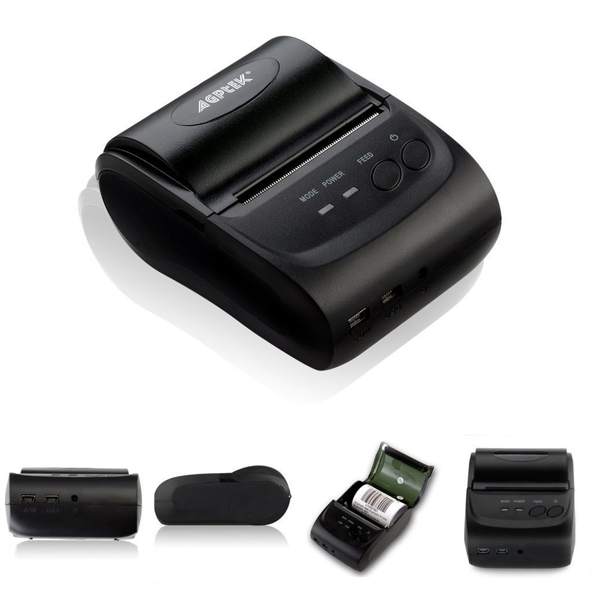 Bluetooth Wireless High-Speed, High-Resolution Pocket Photo Mobile Thermal Receipt Printer for Android IOS 58mm
