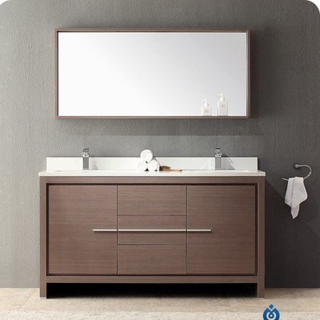 Fresca allier 60 39 39 double modern bathroom vanity set with - Walmart bathroom vanities with sink ...